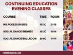 continuing education evening classes