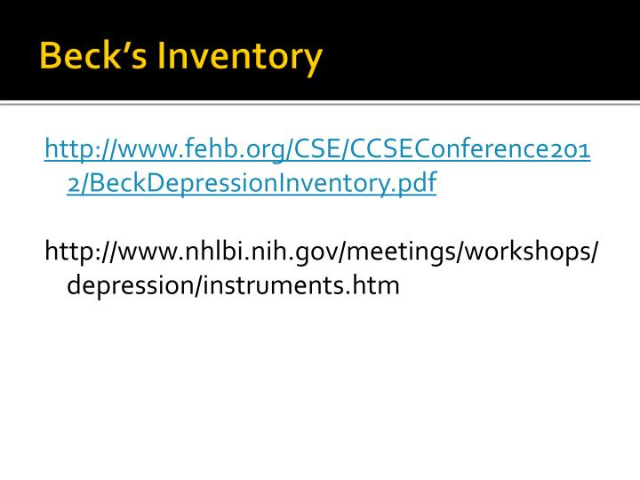 Beck's Inventory