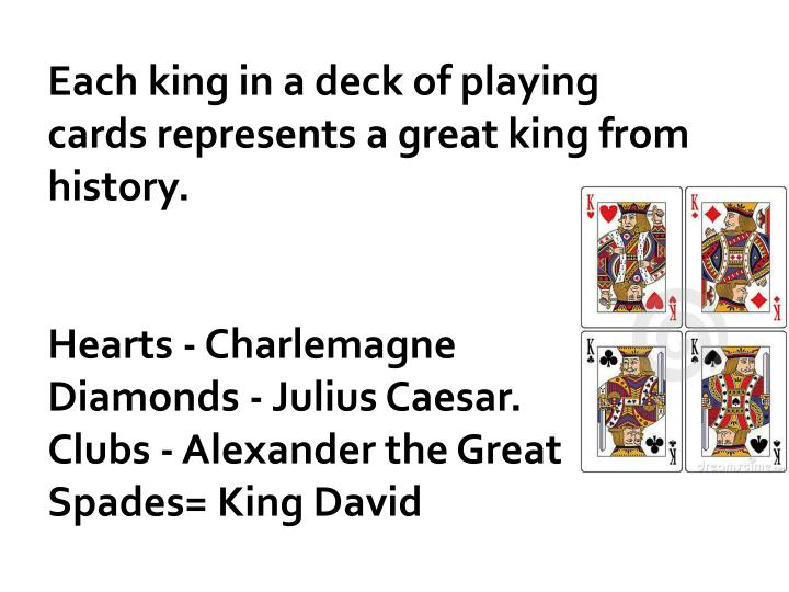 Each king in a deck of playing cards represents a great king from history.