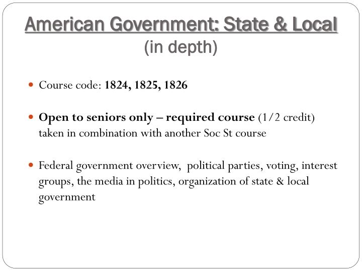 American Government: State & Local