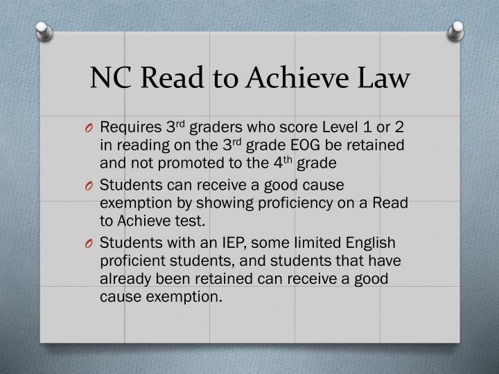 Nc read to achieve law