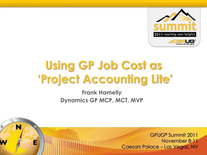 using gp job cost as project accounting lite n.
