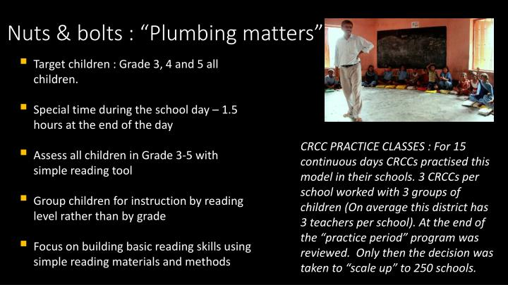 """Nuts & bolts : """"Plumbing matters"""""""