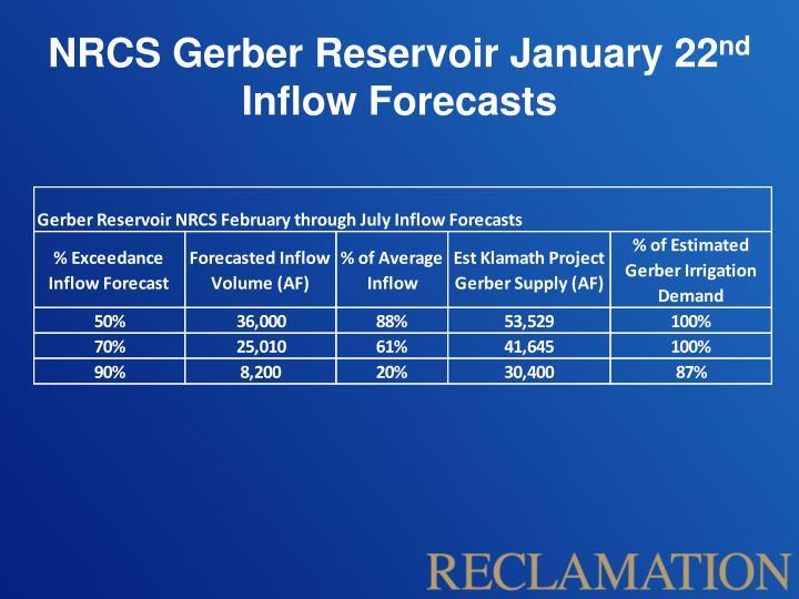 NRCS Gerber Reservoir January 22