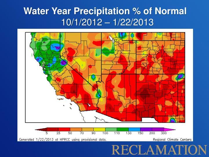 Water Year Precipitation % of Normal