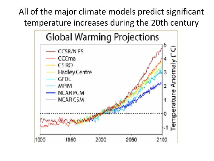 All of the major climate models predict significant temperature increases during the 20th century