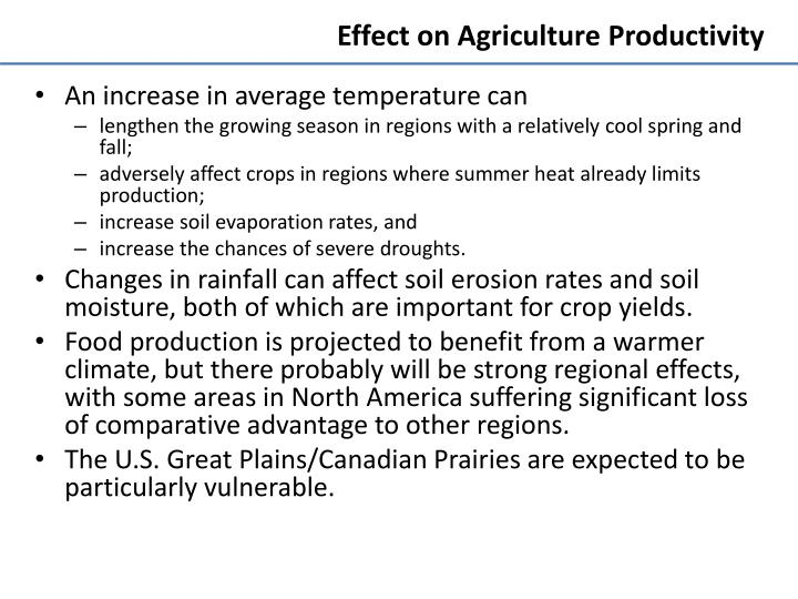 Effect on Agriculture Productivity