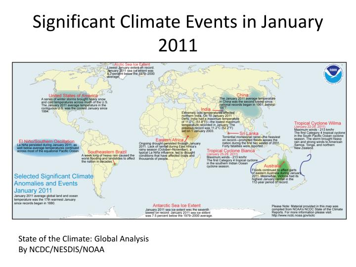 Significant Climate Events in January 2011