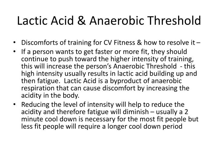 Lactic Acid & Anaerobic Threshold