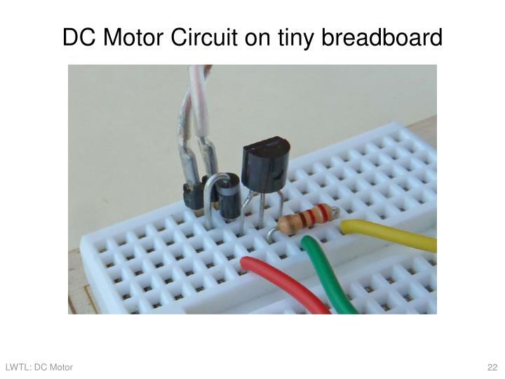 DC Motor Circuit on tiny breadboard