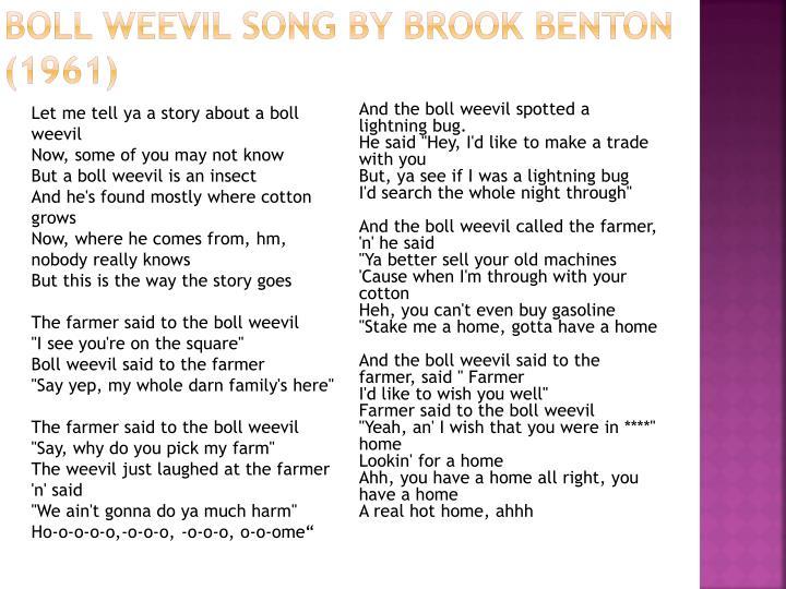 Boll Weevil Song by Brook Benton (1961)