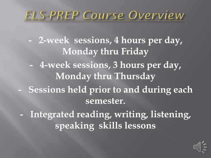 ELS-PREP Course Overview