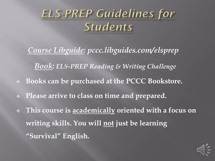 ELS-PREP Guidelines for
