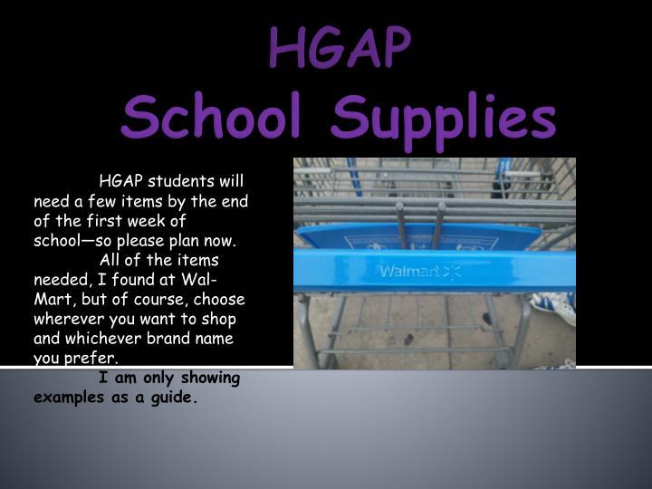 Hgap school supplies