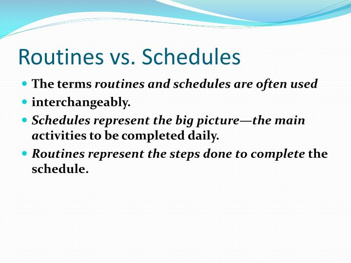 routines vs schedules n.