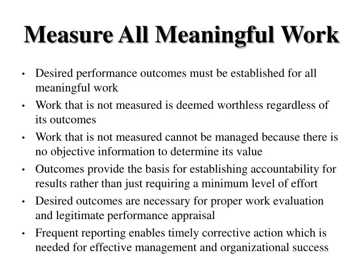 Measure All Meaningful Work