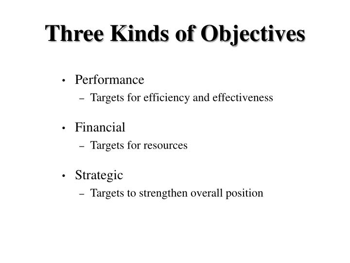 Three Kinds of Objectives
