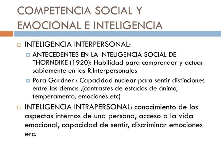 COMPETENCIA SOCIAL Y EMOCIONAL E INTELIGENCIA