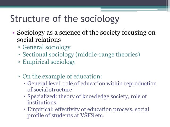 Structure of the sociology