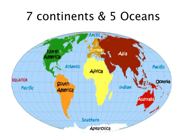 7 continents 5 oceans