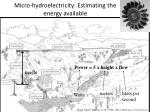 micro hydroelectricity estimating the energy available
