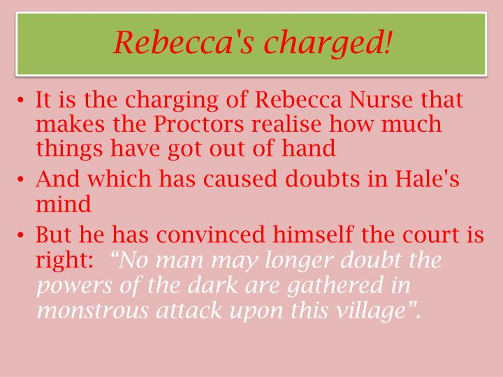 Rebecca's charged!