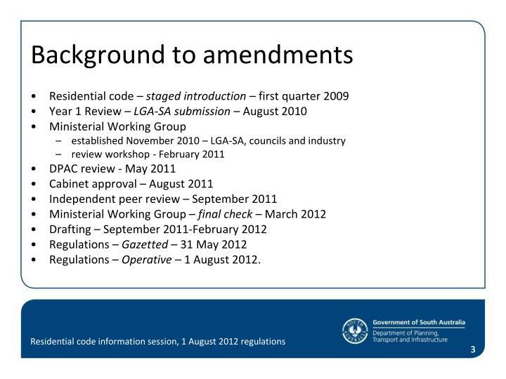 Background to amendments