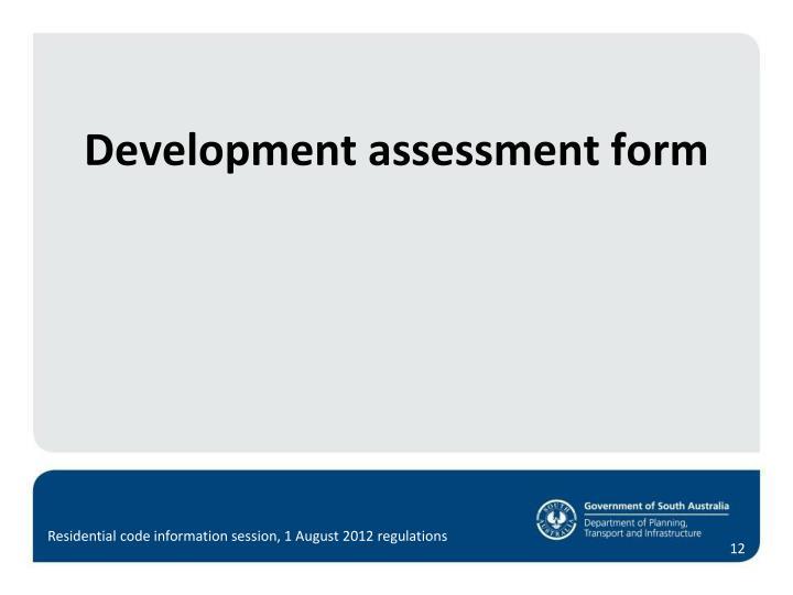 Development assessment form