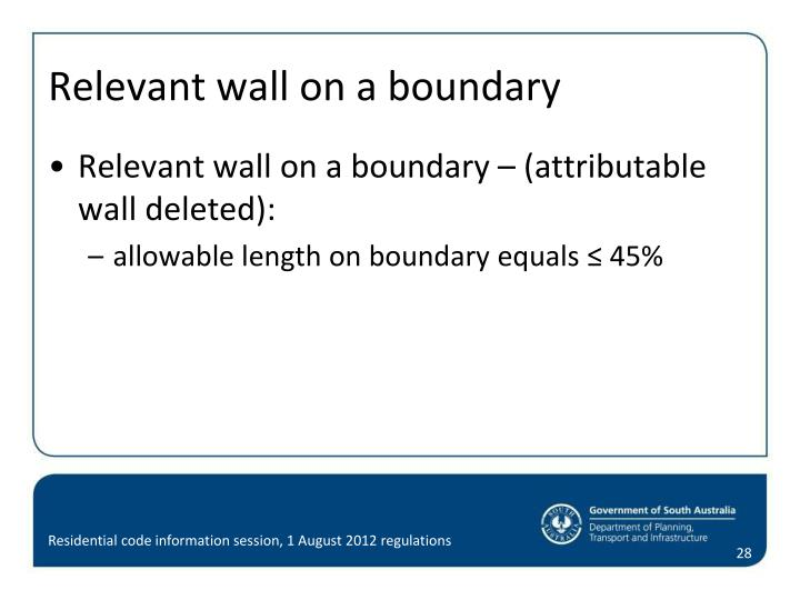 Relevant wall on a boundary