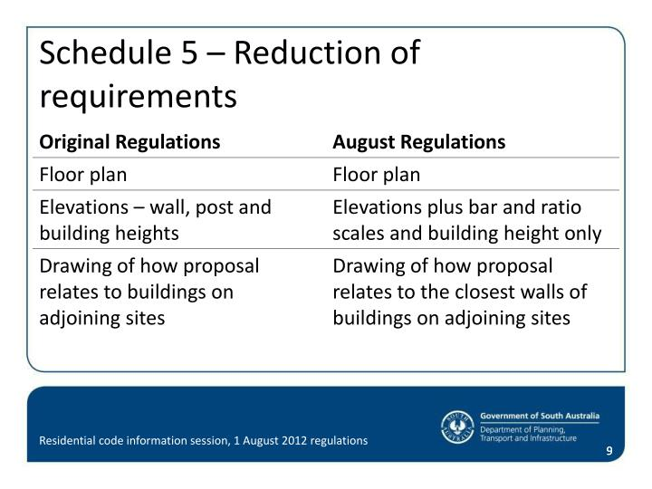 Schedule 5 – Reduction of requirements
