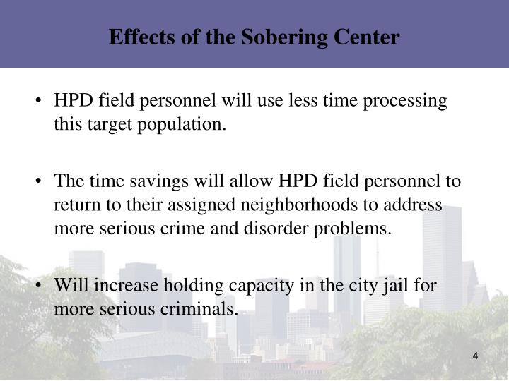 Effects of the Sobering Center