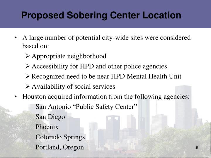 Proposed Sobering Center Location