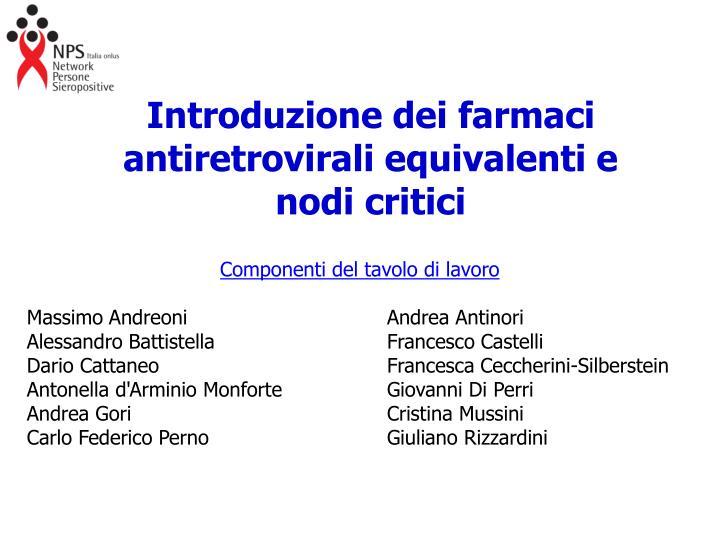 Introduzione dei farmaci antiretrovirali equivalenti e nodi critici