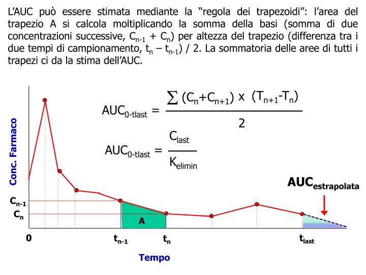 """L'AUC può essere stimata mediante la """"regola dei trapezoidi"""": l'area del trapezio A si calcola moltiplicando la somma della basi (somma di due concentrazioni successive, C"""