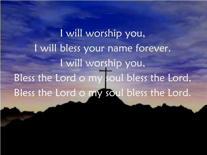 I will worship you,