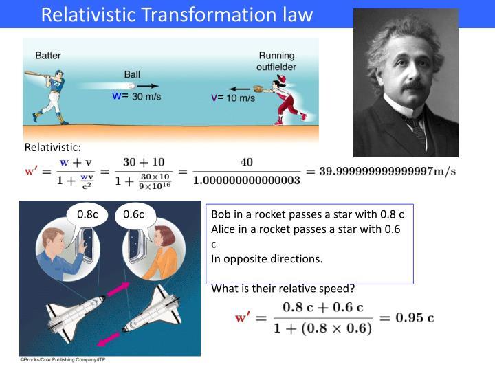 Relativistic Transformation law                  .        .