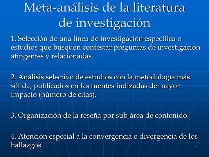 Meta an lisis de la literatura de investigaci n
