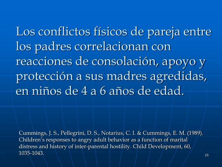 Los conflictos físicos de pareja entre los padres correlacionan con reacciones de consolación, apoyo y protección a sus madres agredidas, en niños de 4 a 6 años de edad.
