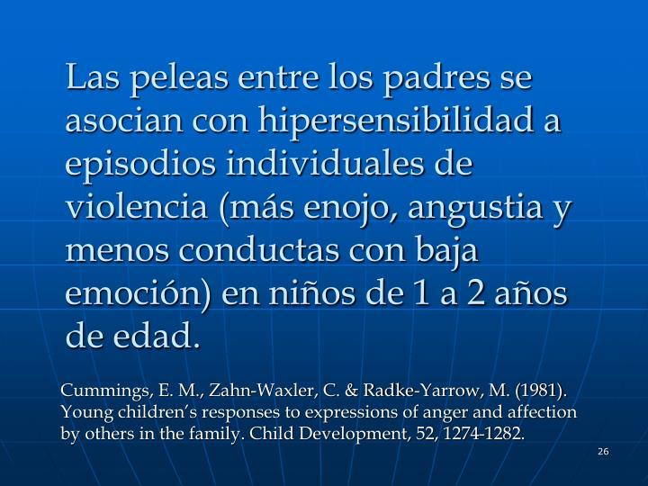 Las peleas entre los padres se asocian con hipersensibilidad a episodios individuales de violencia (más enojo, angustia y menos conductas con baja emoción) en niños de 1 a 2 años de edad.