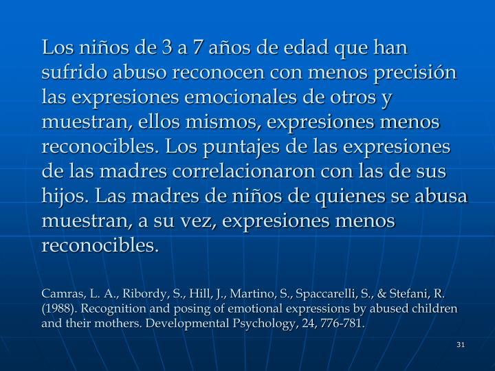 Los niños de 3 a 7 años de edad que han sufrido abuso reconocen con menos precisión las expresiones emocionales de otros y muestran, ellos mismos, expresiones menos reconocibles. Los puntajes de las expresiones de las madres correlacionaron con las de sus hijos. Las madres de niños de quienes se abusa muestran, a su vez, expresiones menos reconocibles.