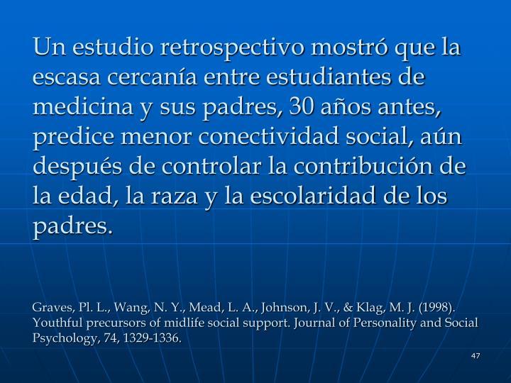 Un estudio retrospectivo mostró que la escasa cercanía entre estudiantes de medicina y sus padres, 30 años antes, predice menor conectividad social, aún después de controlar la contribución de la edad, la raza y la escolaridad de los padres.
