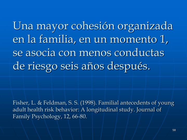 Una mayor cohesión organizada en la familia, en un momento 1, se asocia con menos conductas de riesgo seis años después.