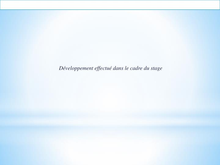 Développement effectué dans le cadre du stage