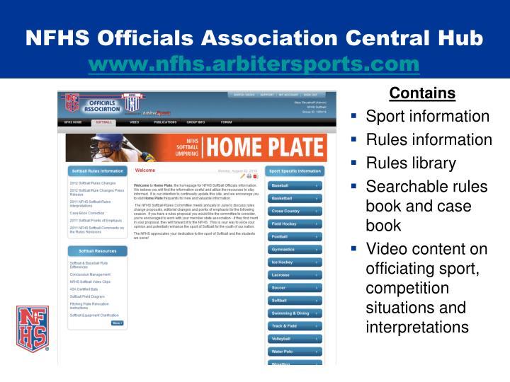 NFHS Officials Association Central Hub