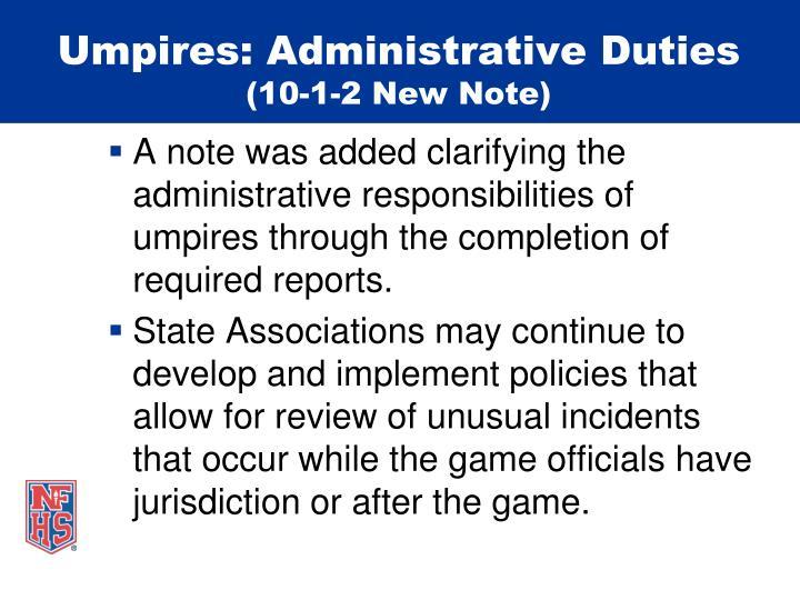 Umpires: Administrative Duties