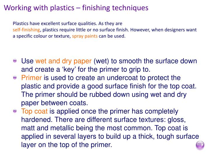 Working with plastics – finishing techniques