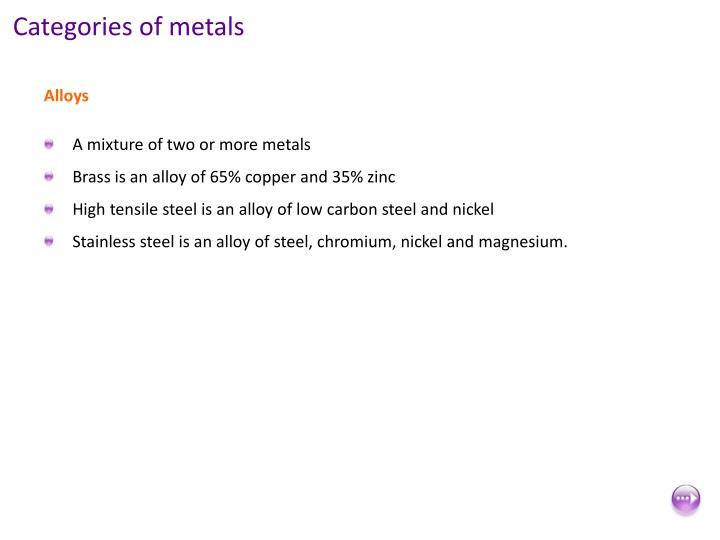 Categories of metals