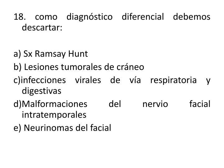 18. como diagnóstico diferencial debemos descartar: