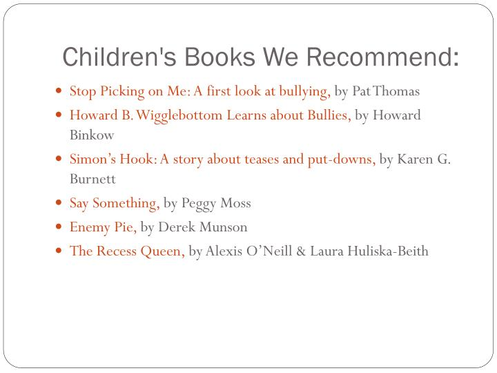 Children's Books We Recommend: