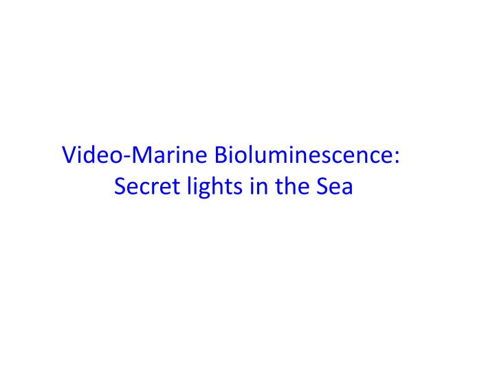 Video-Marine Bioluminescence: